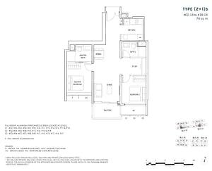 2 Bedroom 2+1b